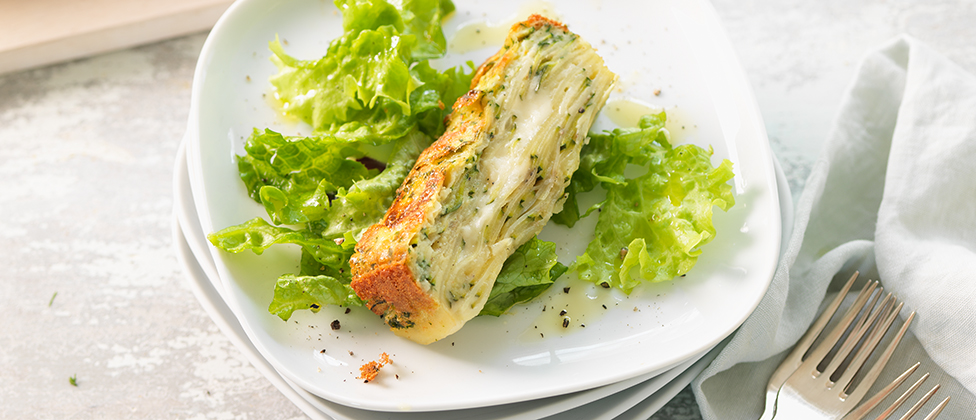 Invisible gateau with courgettes and Taleggio cheese
