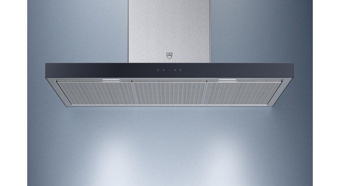 V-ZUG Range hood, AiroClearWall V6000, Standard width: 90.0 cm, Black glass, Long, OptiLink, Energy efficiency rating: A+