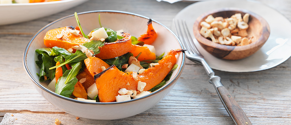 Roasted pumpkin with goat's cheese and rocket