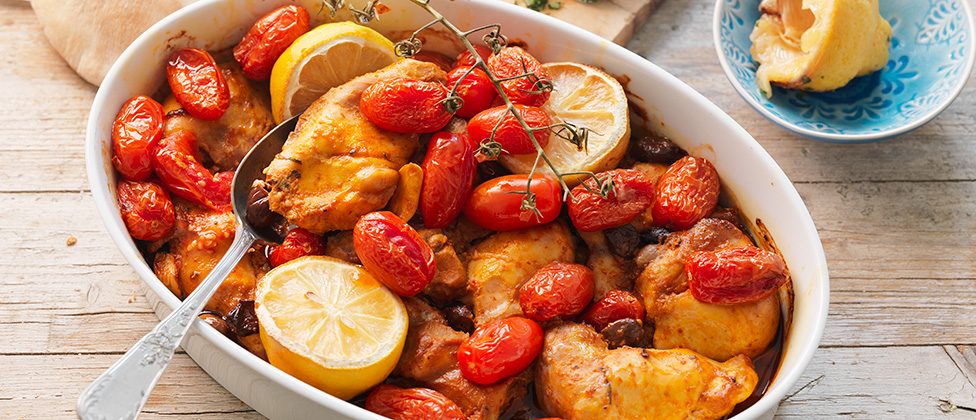 Harissa chicken with olives and chickpeas