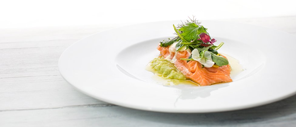 Asian salmon confit with rapeseed oil foam and avocado and potato mash