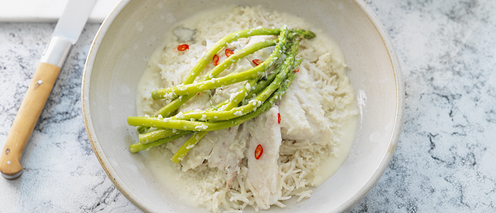Coconut, lime and chilli sea bass