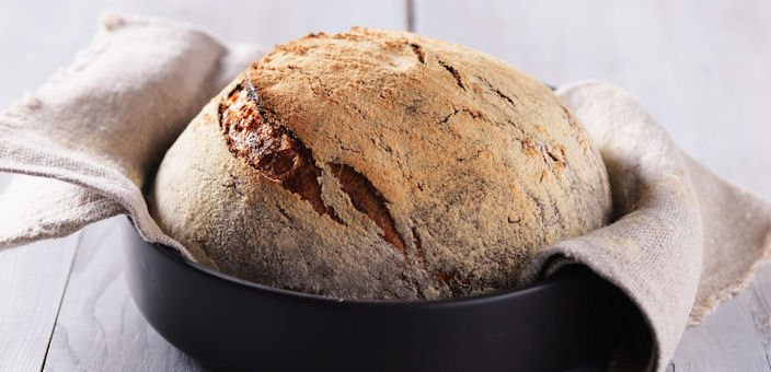 Beer bread in a cast iron pot