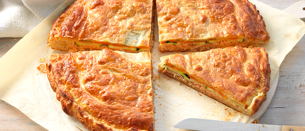 Salmon and vegetable pie
